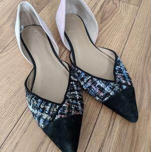 Anthropologie - tweed flat shoes